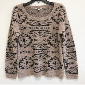 BB Dakota | Women's fuzzy Aztec pullover sweater